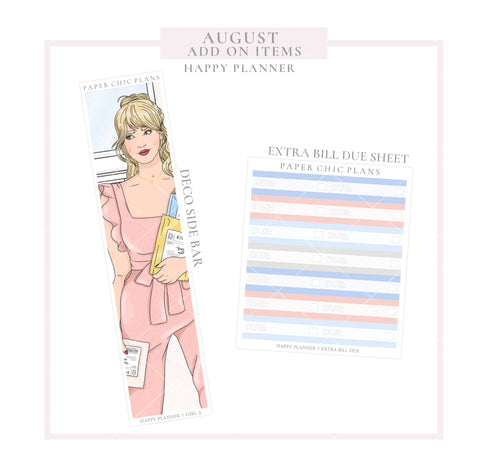 AUGUST // ADD ON ITEMS // Happy Planner Classic Monthly Planner Kit - Paper Chic Plans