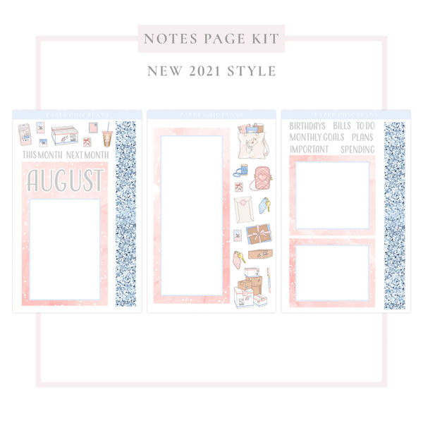 AUGUST // NEW Style 2021 // Notes Page Kit - Paper Chic Plans
