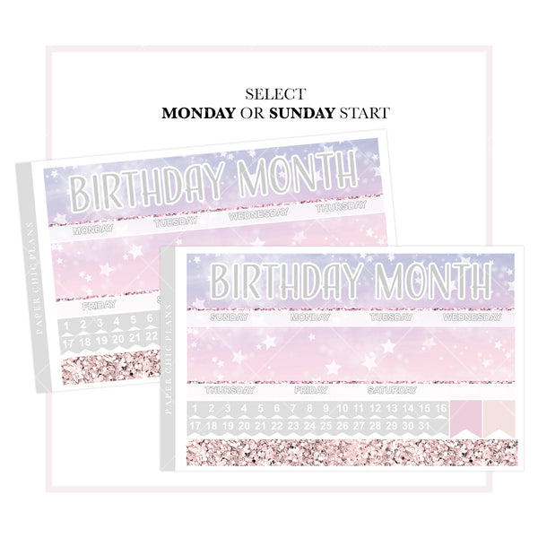 Birthday Month // Vertical Monthly Planner Kit