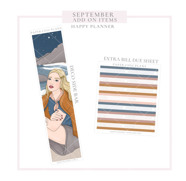 SEPTEMBER : Bonfire // ADD ON ITEMS // Happy Planner Classic Monthly Planner Kit - Paper Chic Plans