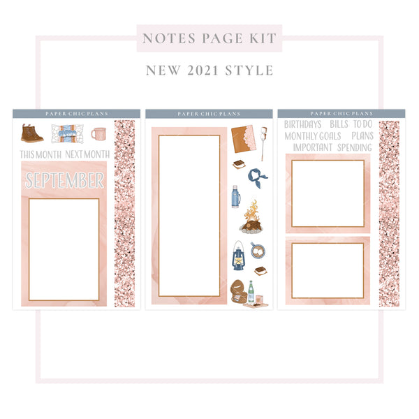 SEPTEMBER : Bonfire // NEW Style 2021 // Notes Page Kit - Paper Chic Plans