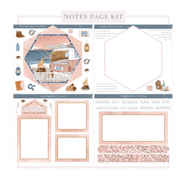 SEPTEMBER : Bonfire // Hexagon Notes Page Kit - Paper Chic Plans
