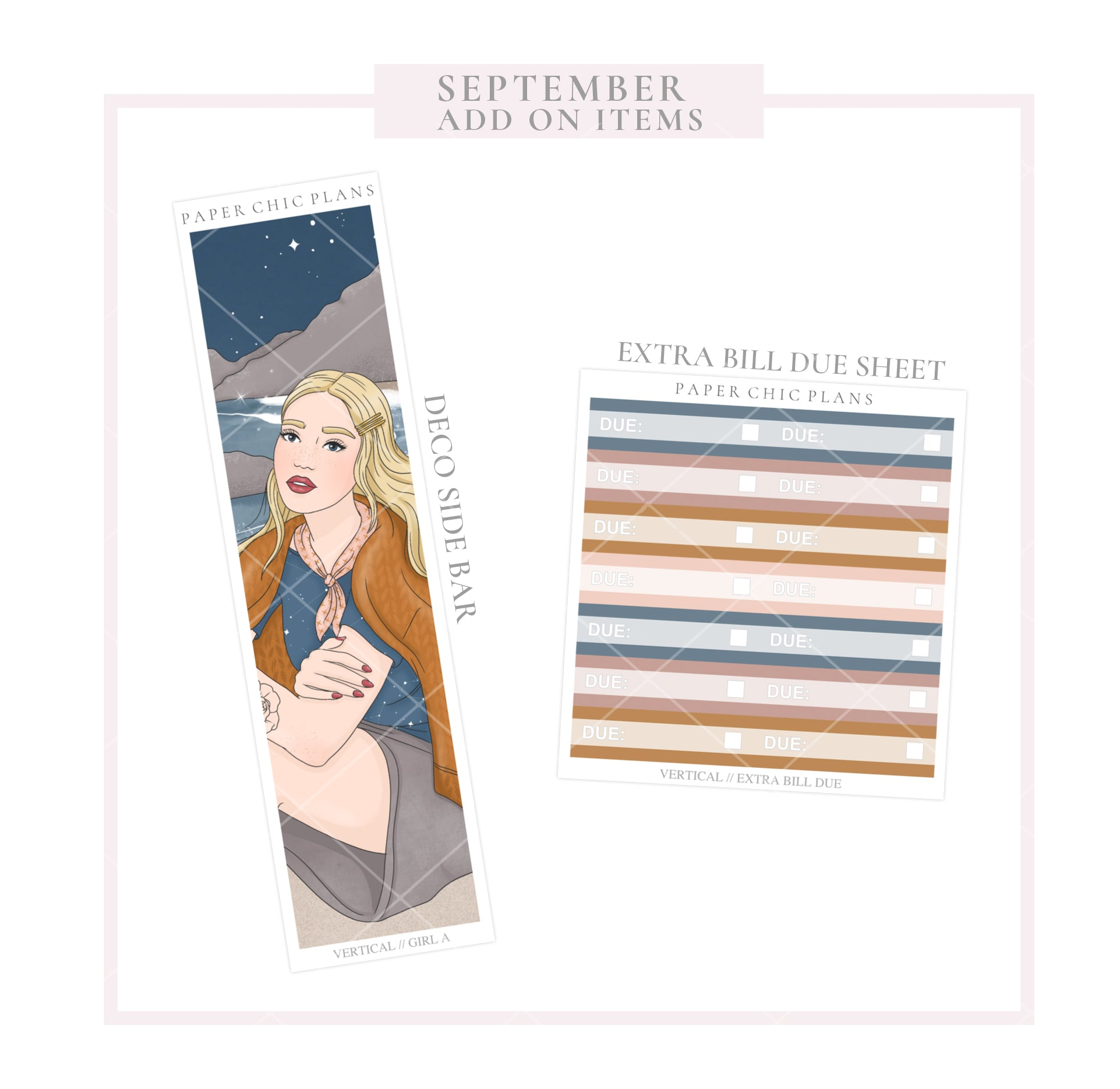 SEPTEMBER : Bonfire // ADD ON ITEMS // Vertical Monthly Planner Kit - Paper Chic Plans
