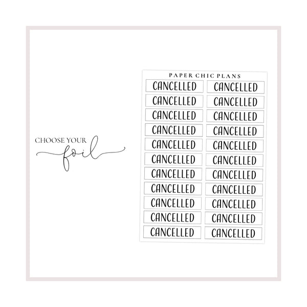 Cancelled // Foiled Scripts - Paper Chic Plans