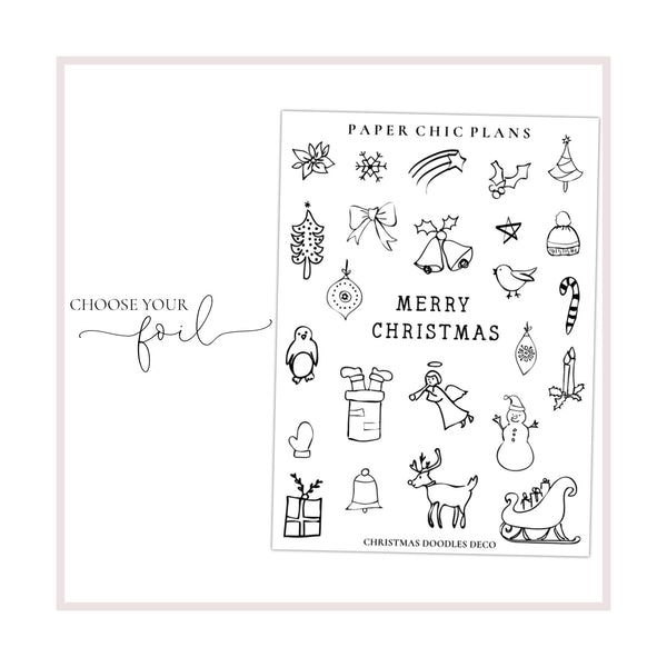 Christmas Doodle Deco Stickers // Foiled - Paper Chic Plans