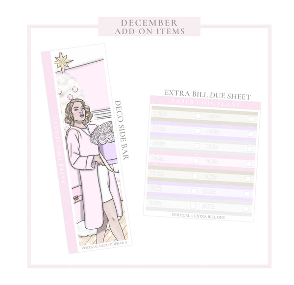 December // ADD ON ITEMS // Vertical Monthly Planner Kit