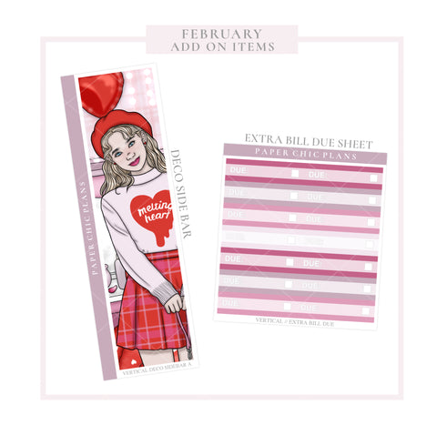 February // ADD ON ITEMS // Vertical Monthly Planner Kit