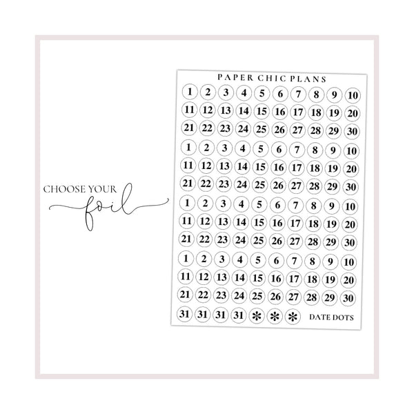 Date Dots // Foiled - Paper Chic Plans