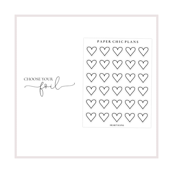 Heart Icons // Foiled - Paper Chic Plans