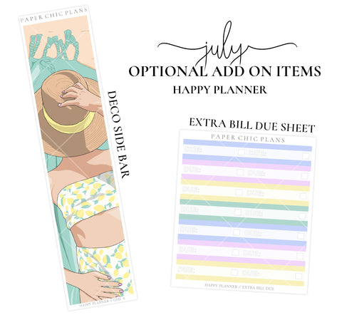 JULY // ADD ON ITEMS // Happy Planner Classic Monthly Planner Kit - Paper Chic Plans
