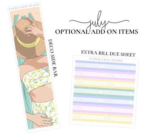 JULY // ADD ON ITEMS // Vertical Monthly Planner Kit - Paper Chic Plans