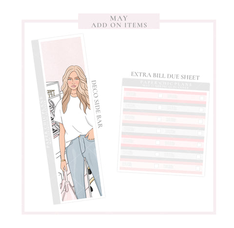 May // ADD ON ITEMS // Vertical Monthly Planner Kit