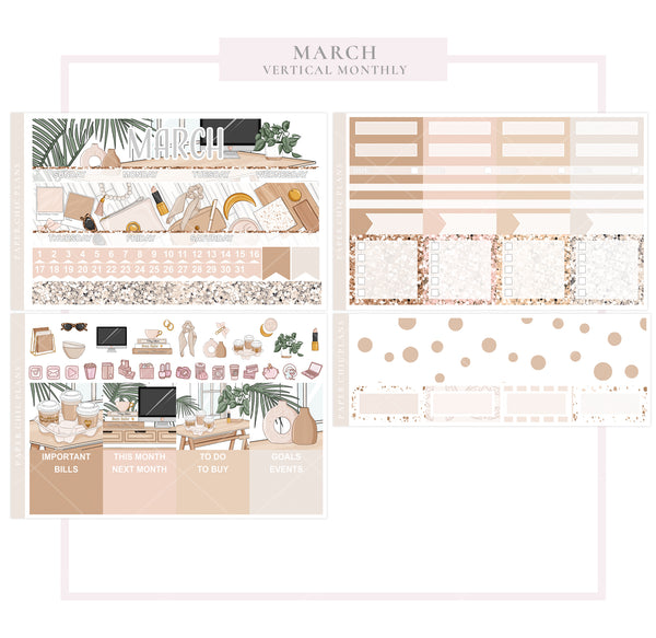 March // Vertical Monthly Planner Kit