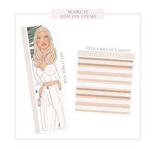 March // ADD ON ITEMS // Vertical Monthly Planner Kit
