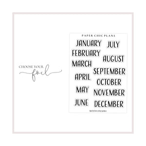 Month Stickers // Foiled - Paper Chic Plans