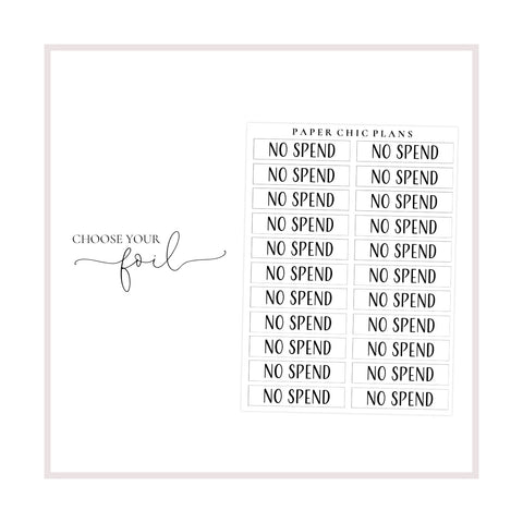 No Spend // Foiled Scripts - Paper Chic Plans