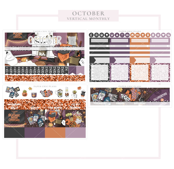 October // Vertical Monthly Planner Kit