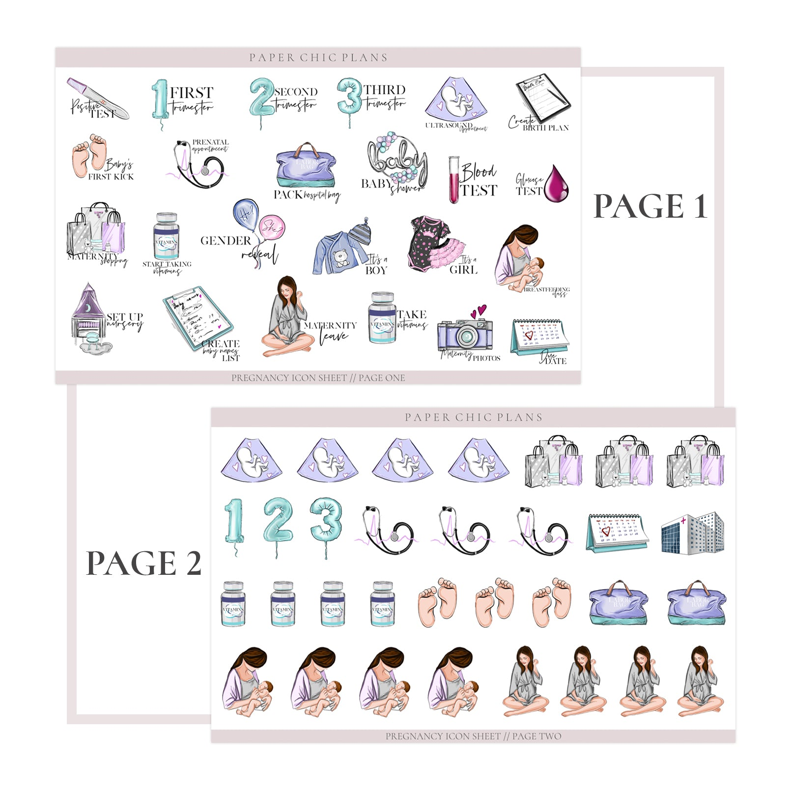 PREGNANCY // Planner Icons - Paper Chic Plans