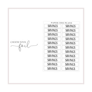Savings // Foiled Scripts - Paper Chic Plans