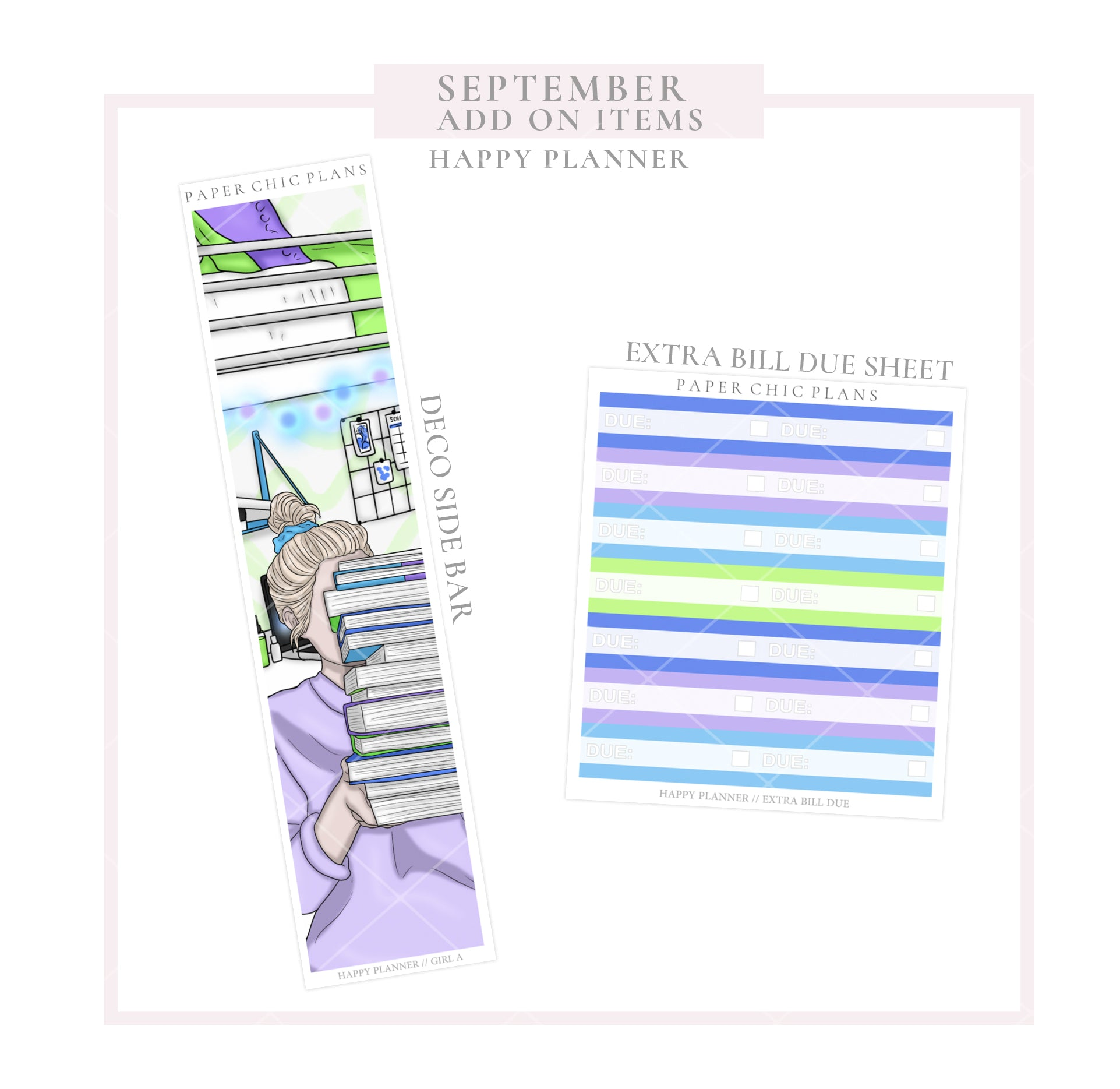 SEPTEMBER : Scare School // ADD ON ITEMS // Happy Planner Classic Monthly Planner Kit - Paper Chic Plans