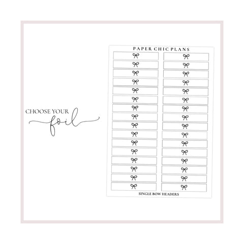 Single Bow Overlay Headers // Foiled - Paper Chic Plans