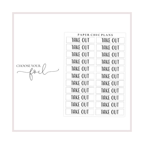 Take Out // Foiled Scripts - Paper Chic Plans