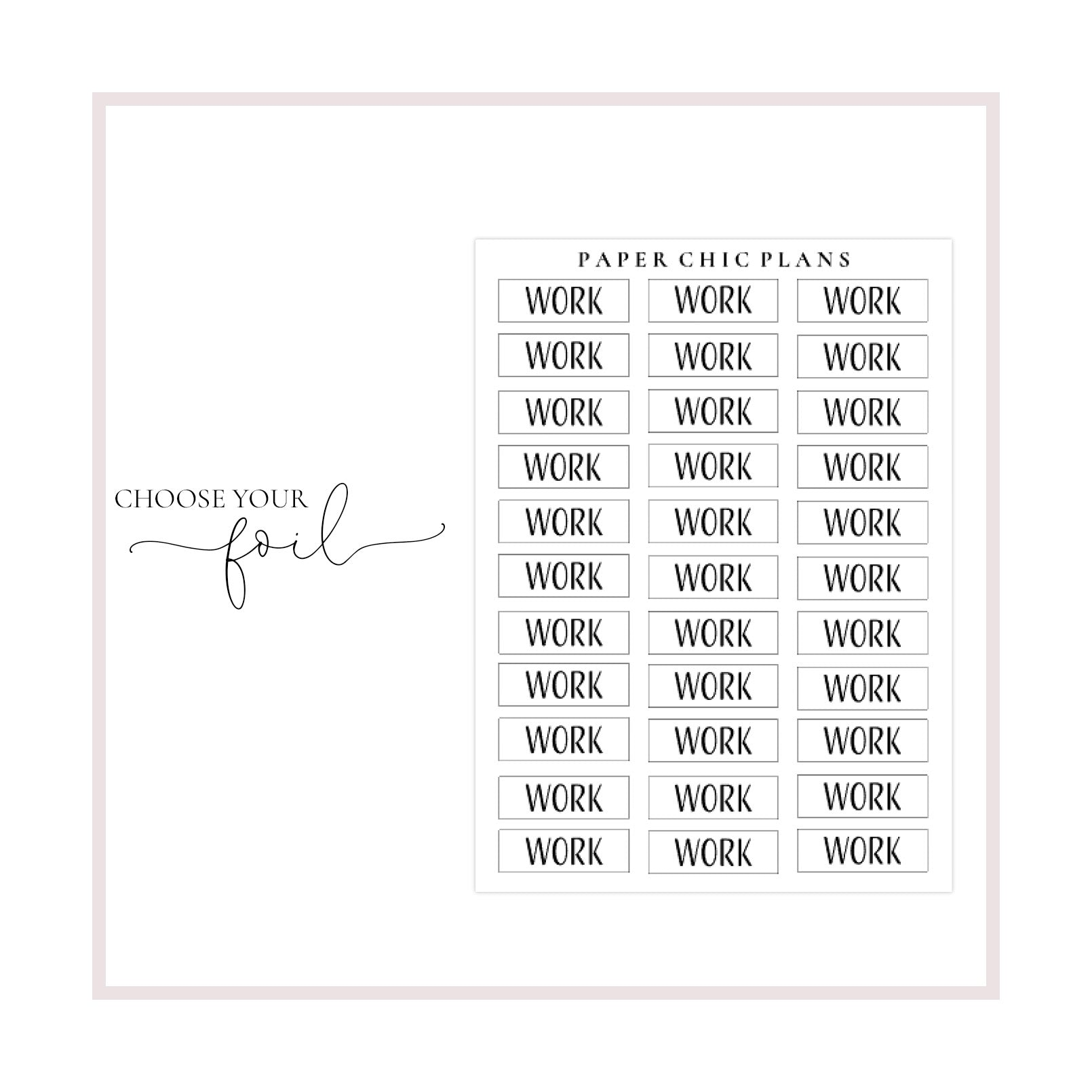 Work // Foiled Scripts - Paper Chic Plans