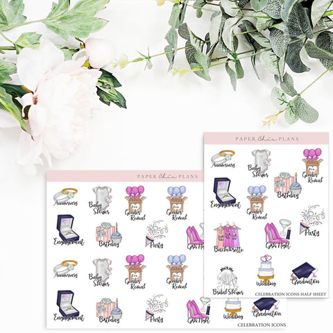 CELEBRATIONS  // Planner Icons - Paper Chic Plans