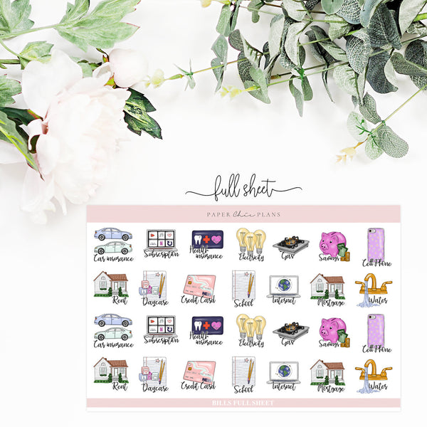BILLS // Planner Icons - Paper Chic Plans