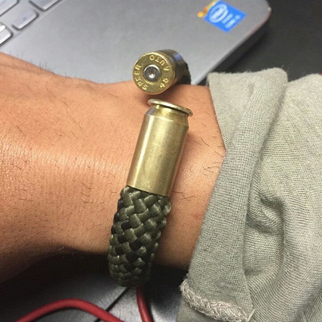 Jungle Camo BearArms Bullet Bracelet with Brass .45ACP Casings