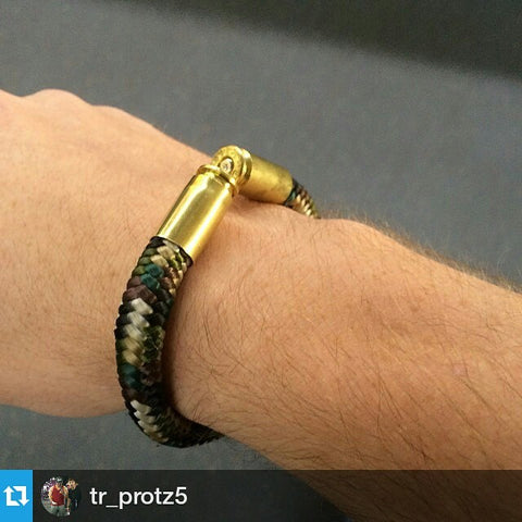 Multicam BearArms Bullet Bracelet with Brass 9mm Casings in support of the 2nd Amendment and Supporting our Military Armed Forces