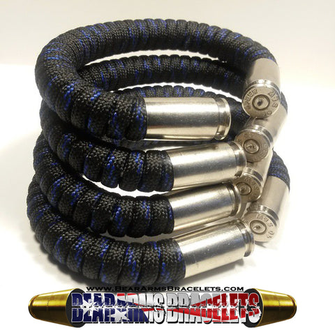 thin blue line paracord beararms bullet casings jewelry bracelets