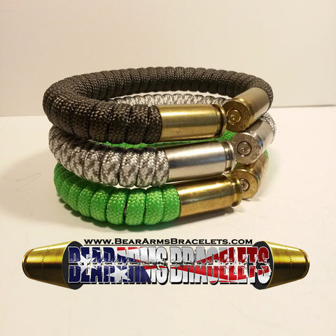 neon green snow camo and od green paracord beararms shell casings bracelets