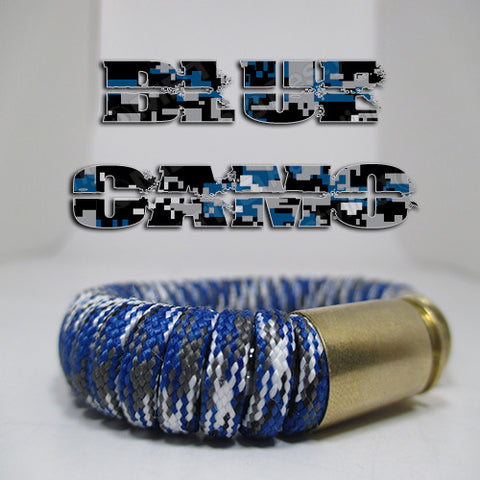 blue camo paracord beararms bullet casings jewelry bracelets