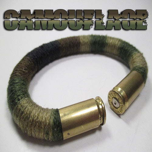camouflage 100% cotton yarn beararms bullet casings jewelry bracelets