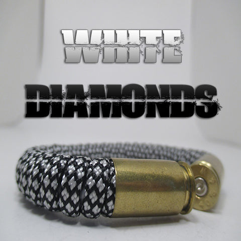 white diamonds paracord beararms bullet casings jewelry bracelets
