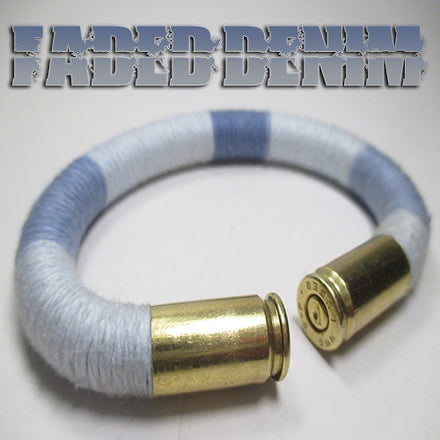 faded denim 100% cotton yarn beararms bullet casings jewelry bracelets