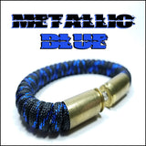 metallic blue paracord beararms bullet casings bracelet jewelry