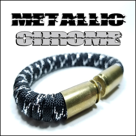 metallic chrome paracord beararms bullet casings bracelet jewelry