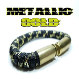 metallic gold paracord beararms bullet casings bracelet jewelry