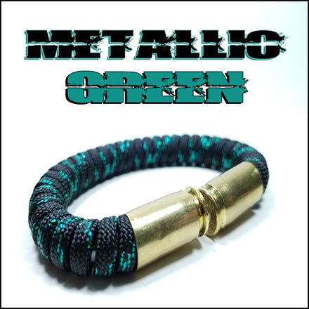 metallic green paracord beararms bullet casings bracelet jewelry