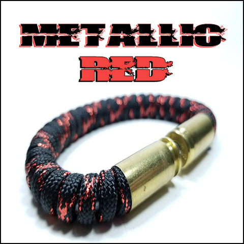 metallic red paracord beararms bullet casings bracelet jewelry