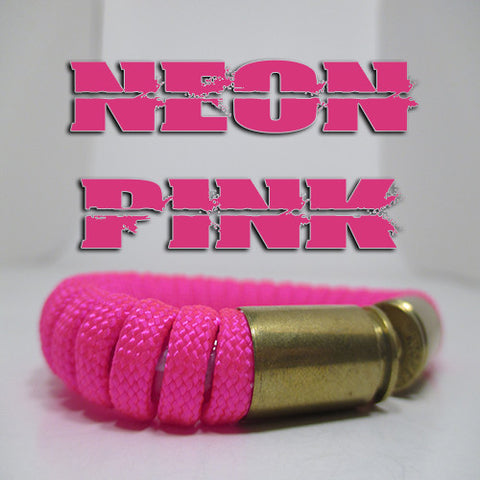 neon pink paracord beararms bullet casing bracelet jewelry