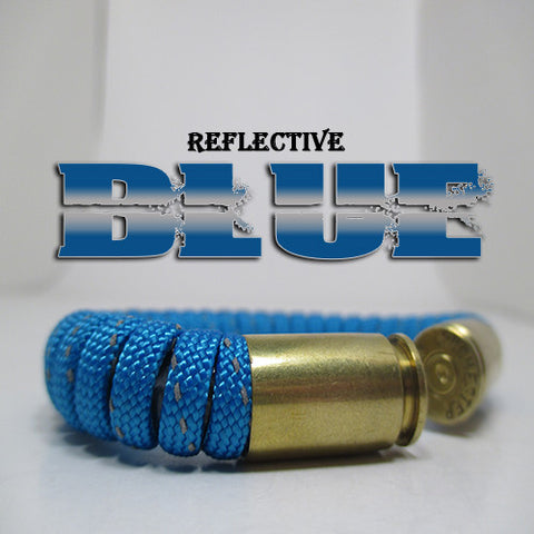 reflective blue paracord beararms bullet casings jewelry bracelets