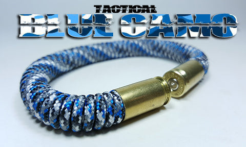 blue camo tactical 275 paracord beararms bullet casings bracelet jewelry