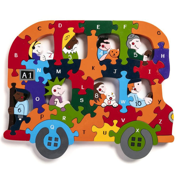 Handcrafted Wooden Jigsaw Puzzle Alphabet Bus