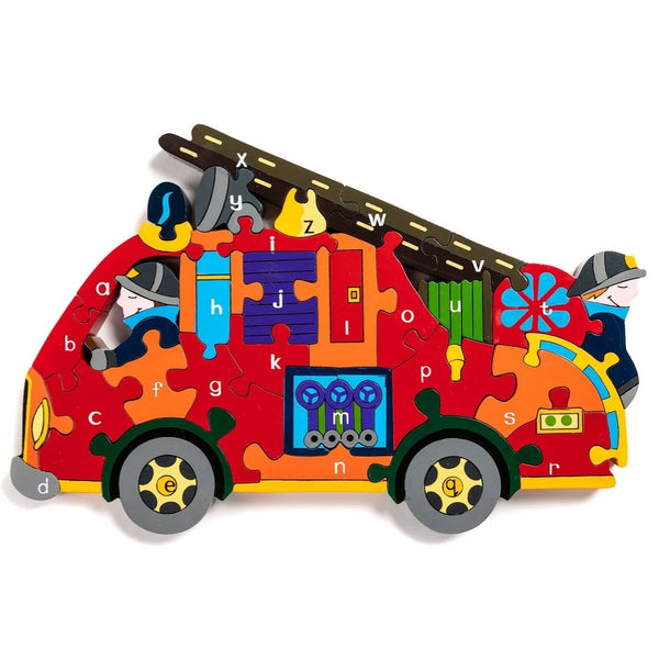Handcrafted Wooden Jigsaw Puzzle Alphabet Fire Engine
