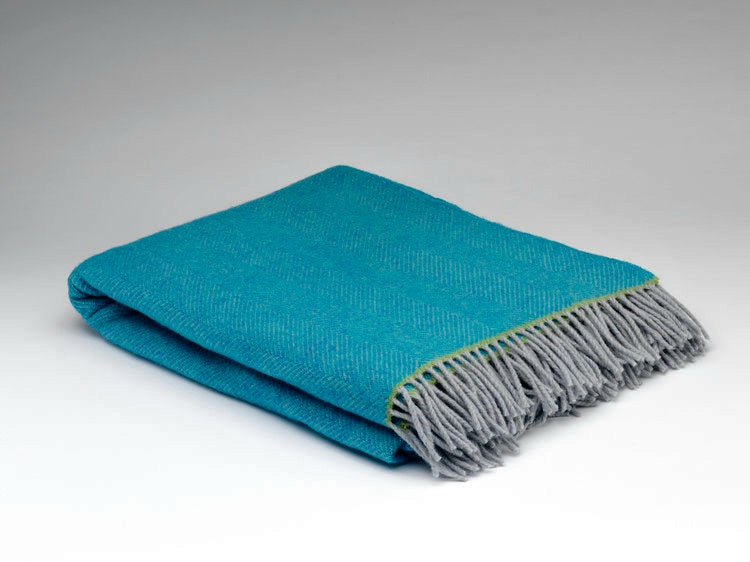 McNutt Of Donegal Belle Herringbone Throw Blue with Lime Green Trim