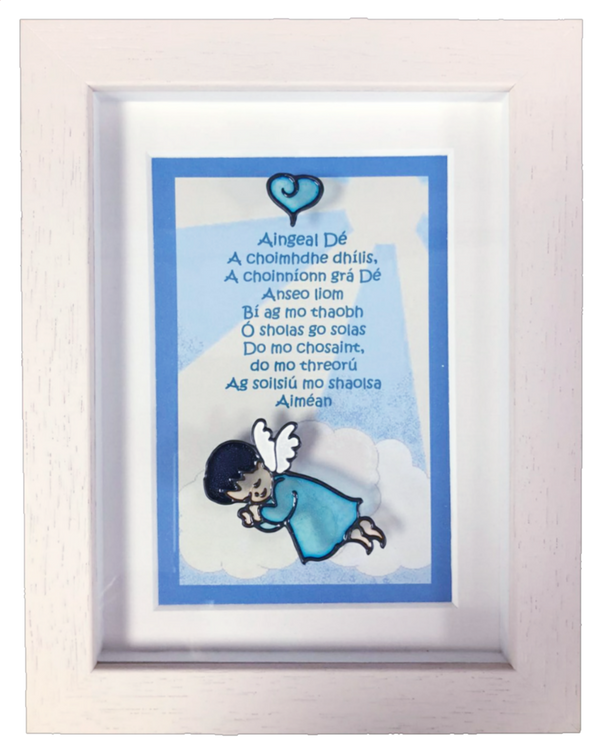 Magpi Art Angel Of God Framed Prayer Baby Boy Irish