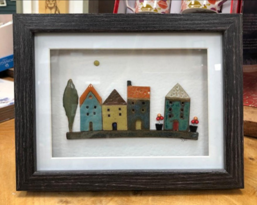 Yvonne Fleming Pottery Houses in Distressed Grey Frame